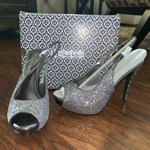 Silver sparkle pumps